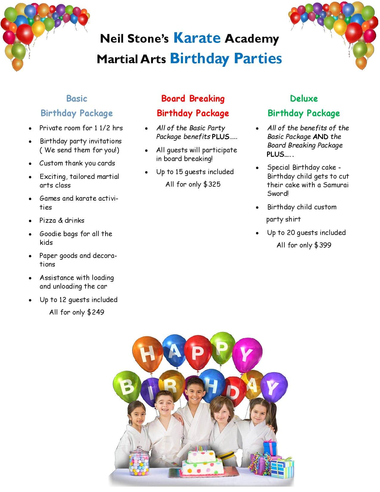 Neil Stone Karate Birthday Packages