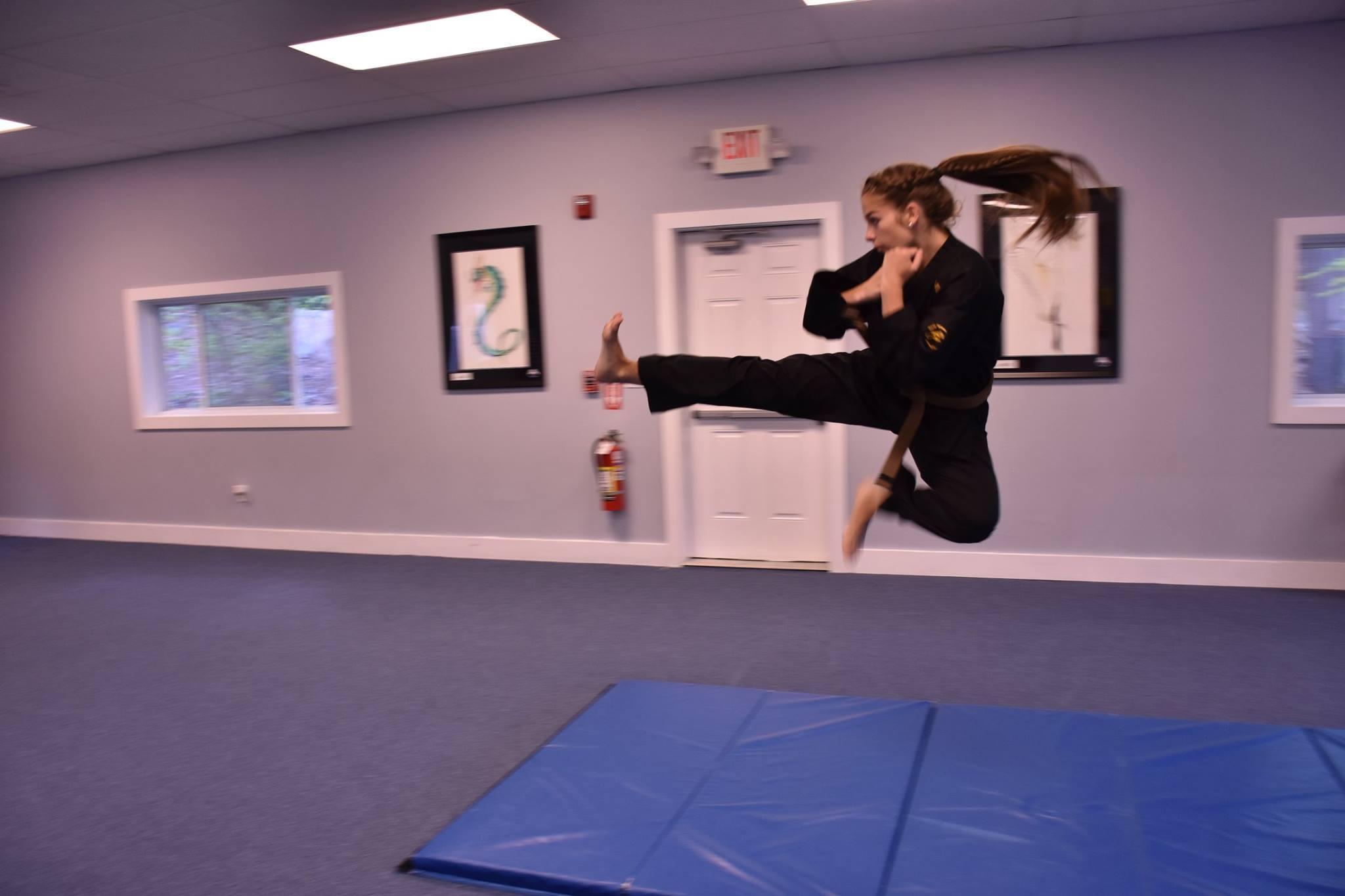 Student demonstrating Flying Kick at Neil Stone's Karate Academy