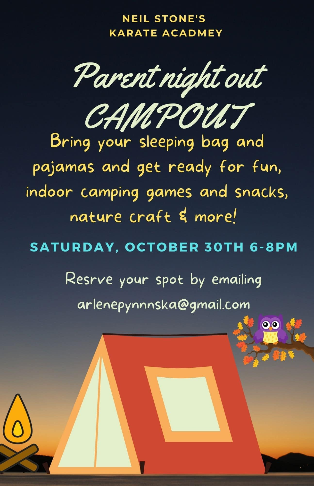 Parents Night Out Campout – October 30th